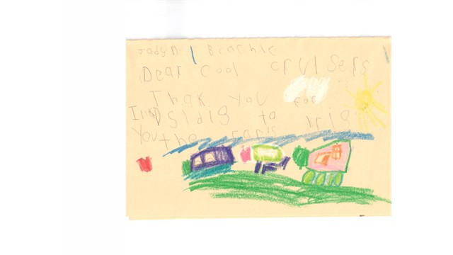 Mike Davis Elementary School thank you letter